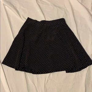 Black skater skirt with tan polka dots